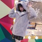 Koala Hooded Furry Jacket Gray - One Size