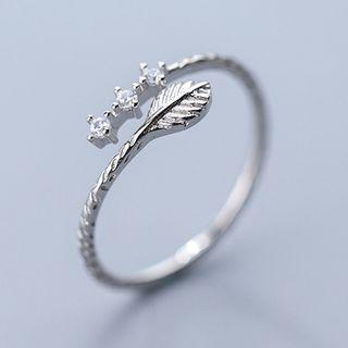925 Sterling Silver Rhinestone Leaf Open Ring As Shown In Figure - One Size