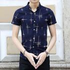 Patterned Short-sleeve Stand-collar Shirt