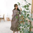 Floral Print Ruffle-trim Maxi Dress