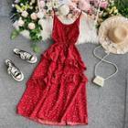 Ruffled Floral Print Sleeveless Dress