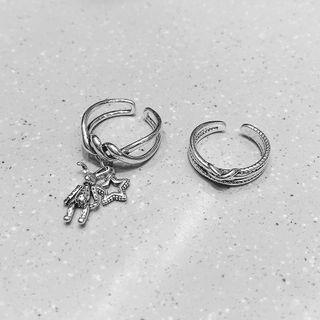 Layered Open Ring / Charm Open Ring / Set