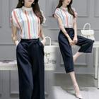 Set: Striped Cap Sleeve Blouse + Cropped Pants