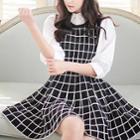Check Sleeveless A-line Dress