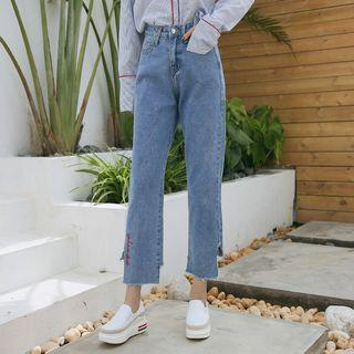 Lettering Embroidered Cropped Wide-leg Jeans