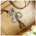 Jeweled Flower Eiffel Tower Necklace