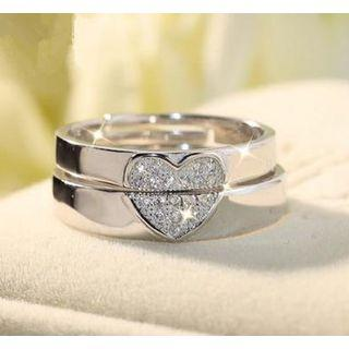 Couple Matching 925 Sterling Silver Rhinestone Heart Open Ring