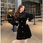 Dotted Long-sleeve Velvet A-line Dress