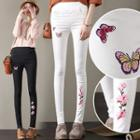 Butterfly Embroidered Skinny Pants