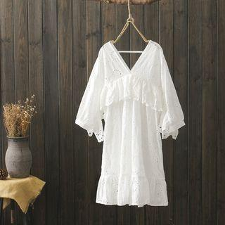 3/4-sleeve Perforated A-line Dress White - One Size