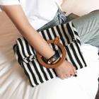 Herringbone Striped Handbag With Pouch