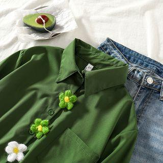 Plain Short-sleeve Cropped Shirt With 1 Flower Brooch - Green - One Size