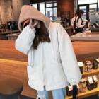 Fleece Panel Drawstring Zip Jacket