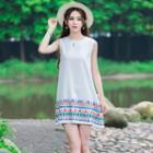 Patterned Sleeveless A-line Dress