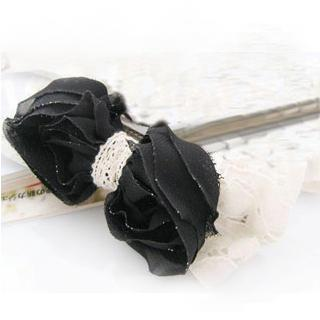 Sparkle Lace And Chiffon Bow Hair Pin -black One Size