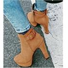 Faux Suede Buckled High-heel Ankle Boots