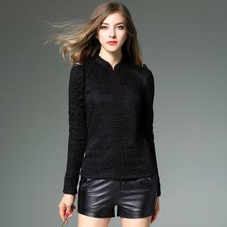 Stand Collar Long-sleeve Lace Top
