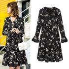 Long-sleeve Floral Ruffled Dress
