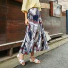 Banded-waist Patterned Maxi Skirt