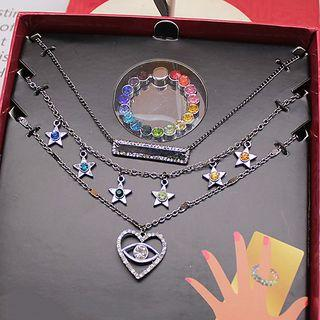 Set: Faux Crystal Ring + Heart / Star / Bar Pendant Necklace As Shown In Figure - One Size