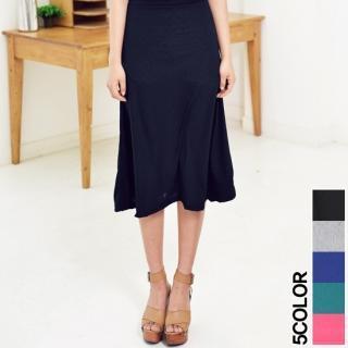 Band-waist Midi Skirt