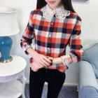 Crochet Collar Plaid Shirt