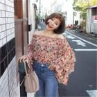 Off-shoulder Ruffle-tiered Floral Chiffon Top