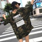 Elbow-sleeve Lettering Camouflage T-shirt