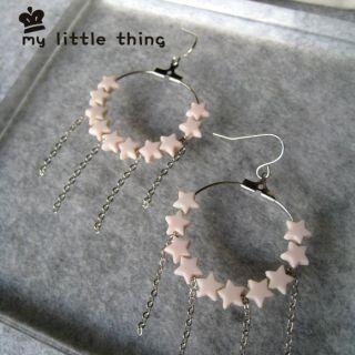 Cute Stars Circle Earrings (pink)