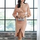 Choker-neck Long-sleeve Sheath Dress
