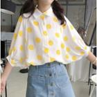 Dotted Elbow-sleeve Shirt Yellow - One Size