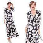 V-neck Floral Gather-waist Midi Dress