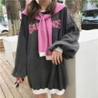 Inset Scarf Long Pullover