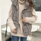 Plaid Stand Collar Padded Vest