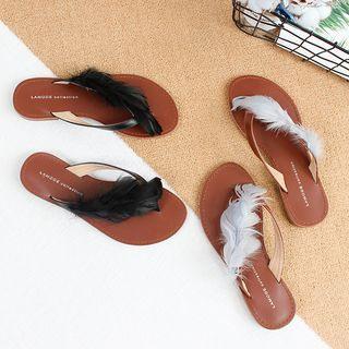 Feather Accent Flip Flops