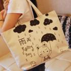 Rabbit Print Canvas Tote