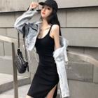 Spaghetti Strap Mini Bodycon Dress / Cropped Distressed Denim Jacket
