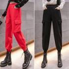 Flap-pocket Cropped Sweatpants