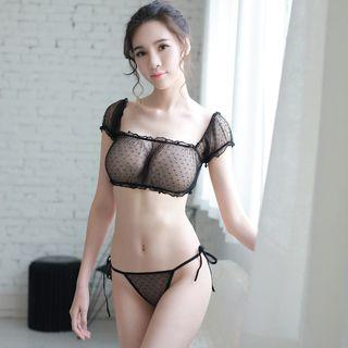 Set: Lace Cropped Top + Panties