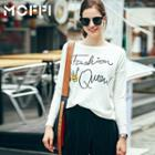 Lettering Long Sleeve Knit Top