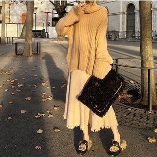 Distressed Hem Knit Midi Skirt