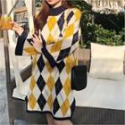Argyle Patterned Knit Dress