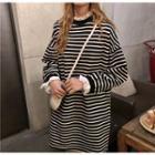 Frilled Trim Mock Two Piece Striped Dress