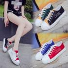 Lettering Color Panel Canvas Sneakers