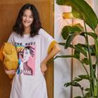Short-sleeve Printed Mini T-shirt Dress White - One Size