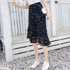 Star Print Ruffle A-line Chiffon Skirt