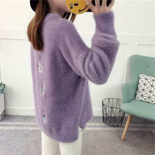 Embroidered Furry Sweater