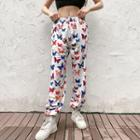 Butterfly Print Cropped Harem Pants