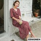 Ruffled Floral Maxi Chiffon Dress