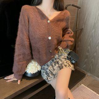 Long-sleeve Plain Faux Fur Cardigan / High-waist Tie Dye Lace Skirt